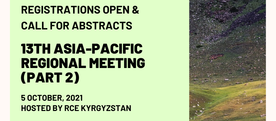 13th Asia-Pacific Regional Meeting (Part 2) - Call for Abstracts and Registrations Open